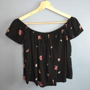 Black Floral Off Shoulder Crop Top | Forever 21 S